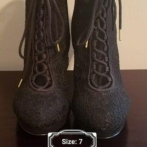 H&M black lace booties